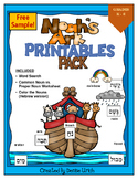 Noah's Ark Fun Pages and Noun work with Hebrew and English