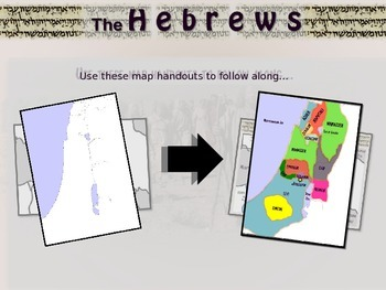 Hebrew/Israel Map Activity: follow along to trace Abraham Moses 12 Tribes & more