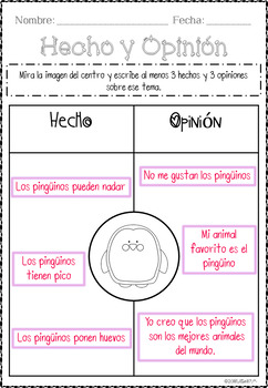 Hecho & Opinión: Graphic Organizers + Posters + Anchor Charts + Cards in Spanish