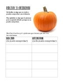 Otoño Hecho y Opinion/ Fall Fact and Opinion (Spanish)