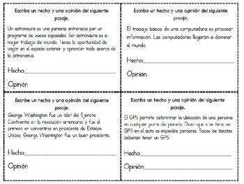 Hecho y opinión Juego 2-Fact and opinion Set 2 Spanish
