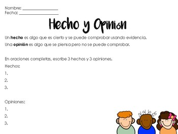 Hecho y opinion español / fact and opinion Spanish by 2TeachBilingual