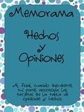 Hechos/ Opinion MEMORAMA-MATCHING CARDS GAME