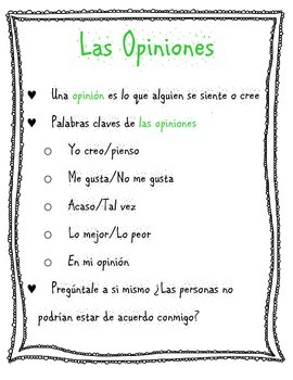 Hechos e opiniones, Poster for Students, SPANISH