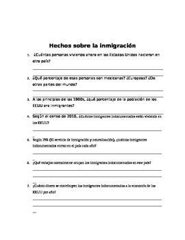 Hechos sobre la inmigración: Student Research Activity on Immigration