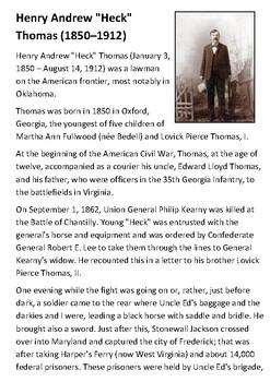 "Henry Andrew ""Heck"" Thomas (1850–1912) Handout"