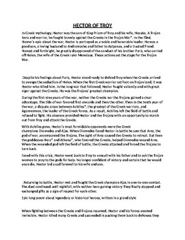 Hector of Troy Article Biography and Assignment