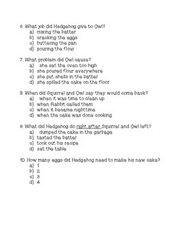 Hedgehog Bakes a Cake Comprehension Assessment