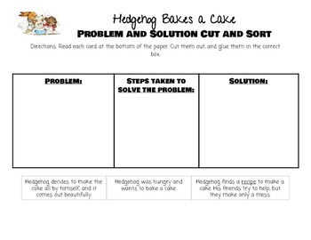Hedgehog Bakes a Cake- Problem Solution Cut and Sort