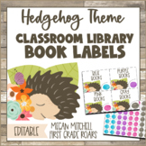 Hedgehog Classroom Decor LIBRARY BOOK LABELS with Shiplap & Flowers