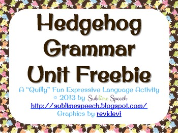 Hedgehog Grammar Unit Freebie