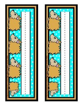 Hedgehog cute brown teal blue nameplate name plate