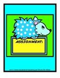 Hedgehog themed homework organization envelopes aqua lime yellow