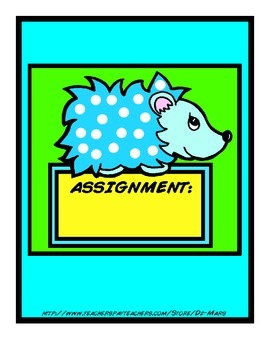 Hedgehog themed homework organization envelopes aqua lime yellow