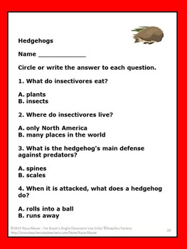 Hedgehogs Task Cards