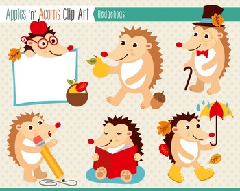 Hedgehogs Clip Art - color and outlines