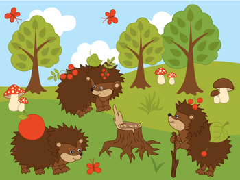 Hedgehogs Clipart - Digital Vector Hedgehog, Mushroom, Tree, Forest Clip Art