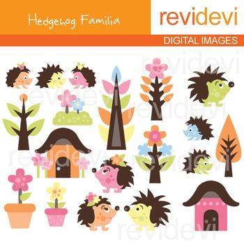 Hedgehogs Family Clip art (flowers, trees) hedgehogs famil