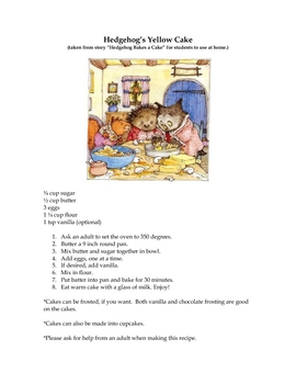 Hedgehog's Recipe for his Cake