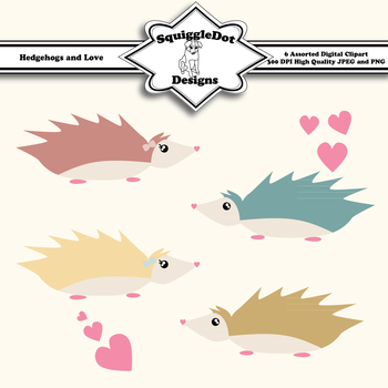 Hedgehogs and Love Clip Art