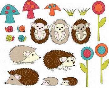 Hedgehogs and Snails Clipart by Poppydreamz