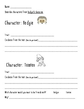 Hedgie's Surprise Character traits