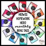 Hedwig Homework Hero Monthly Brag Tags | Homework Brag Tags
