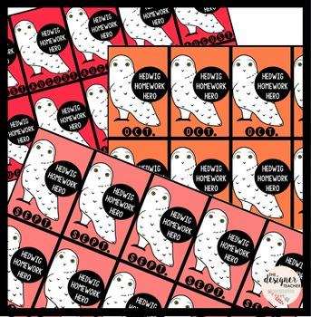 Hedwig Homework Hero Monthly Reward Tags | Homework Reward Tags
