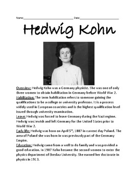 Hedwig Kohn - physicist life history facts information lesson review questions
