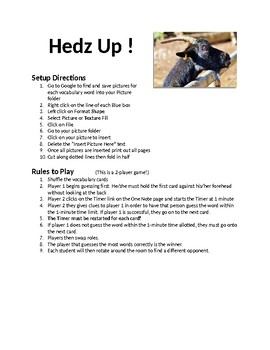 Hedz Up Vocabulary Game Template (Can be altered for various subjects)