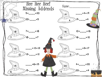 Hee! Hee! Hee! Missing Addends Halloween