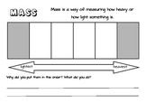 Hefting Mass grade 1 activity worksheet