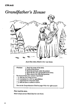 Heidi 10 Chapter Novel with Student Activities and Answer Keys