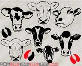 Heifer Cows Head Silhouette SVG clipart cowboy western cow Farm Milk 796S