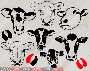 Heifer Cows Head Silhouette SVG clipart cowboy western cow Farm Milk 796S