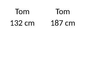Height Comparative Worksheet