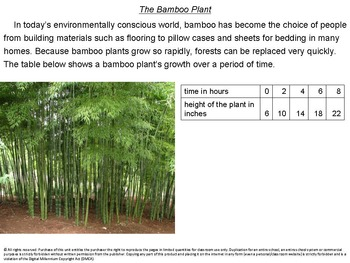 Growth of a Bamboo Plant: part of the Math in Action Series
