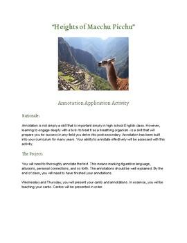 Heights of Machu Picchu Annotation