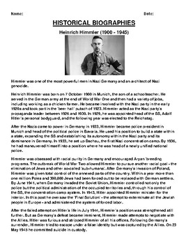 Heinrich Himmler Biography Article and (3) Assignments