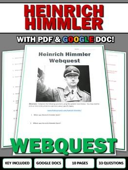 Heinrich Himmler (Nazi Germany) - Webquest with Key (Google Doc Included)