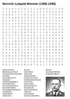 Heinrich Himmler - Nazi Germany Word Search