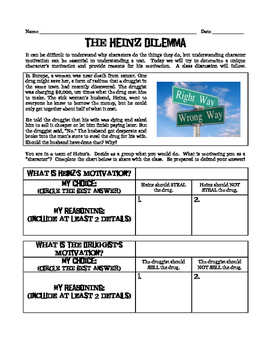 Heinz Dilemma: A Tool to Discuss Character Motivation in Any Novel