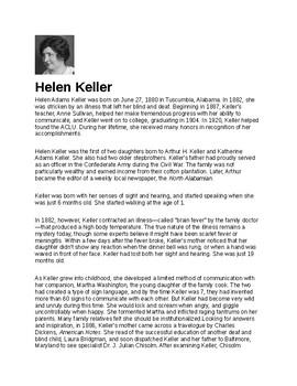 Helen Keller Article Biography and Assignment