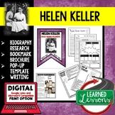Helen Keller Biography Research, Bookmark, Pop-Up, Writing