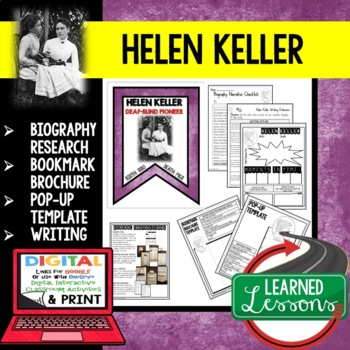 Helen Keller Biography Research, Bookmark, Pop-Up, Writing