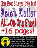 Helen Keller Close Reading 5 Level Passages ALL-ON-ONE 16pages Informational Txt