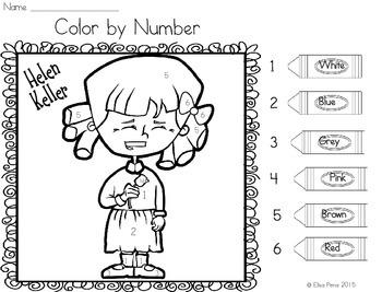 Helen Keller Color by Number