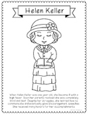 Helen Keller Coloring Page Craft or Poster with Mini Biography, Braille