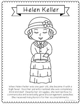 Helen Keller Coloring Page Craft Or Poster With Mini Biography Helen Keller Coloring Page For