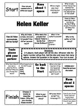 """""""Helen Keller"""" Comprehension Game Board- Journeys story 2nd grade"""